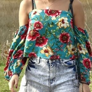 Blue floral off the shoulder shirt with straps